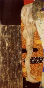 Older woman, other part of the same painting: The Three Ages of Woman by Gustav Klimt, 1905.